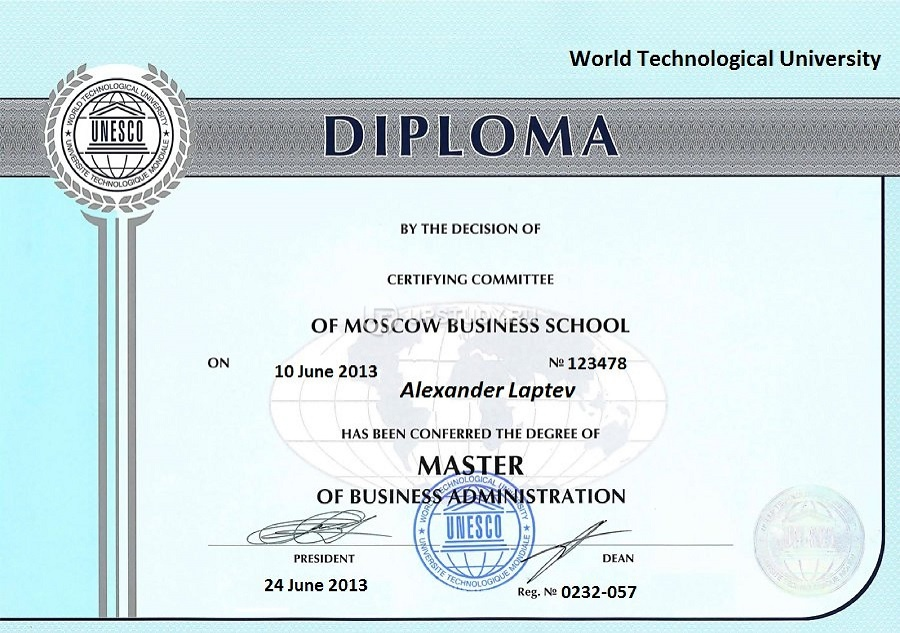 Alexander Laptev : World Technological University